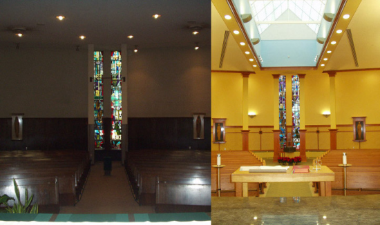 Looking from the altar to the west (before and after)