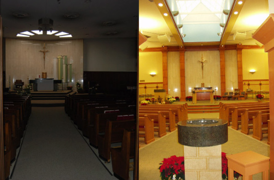 Looking east at the altar (before and after)
